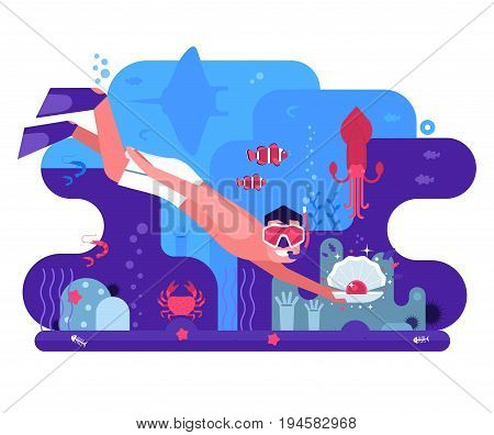 Free diving concept background with pearl diver finding shell on sea bottom. Underwater world scene banner with snorkeler man searching treasures on seabed among ocean life on coral reef background.