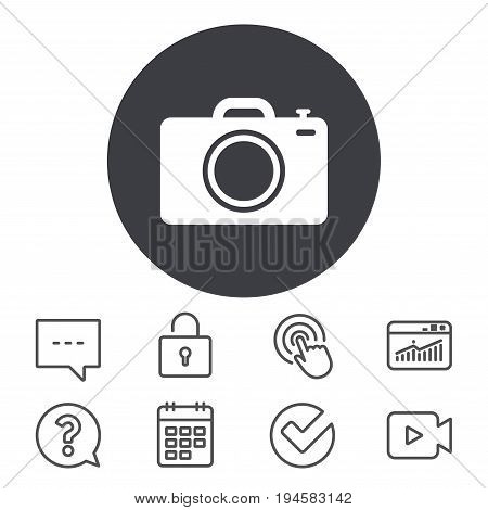 Photo camera sign icon. Digital photo camera symbol. Calendar, Locker and Speech bubble line signs. Video camera, Statistics and Question icons. Vector
