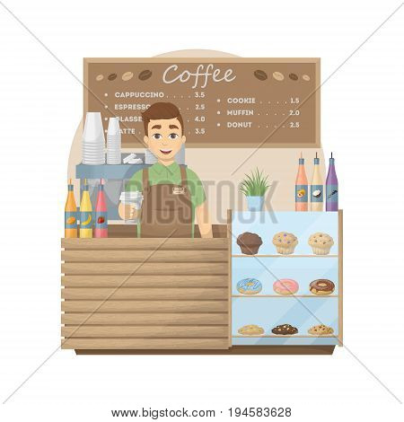 Barista at coffee shop. Man with hot coffee cup stands behind the storefront with cookies, donuts and muffins. Cappuccino and latte, espresso and sweets.