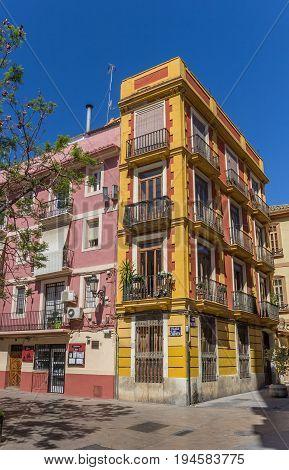 VALENCIA, SPAIN - JUNE 12, 2017: Colorful building at the Plaza del Carmen in Valencia, Spain