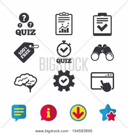 Quiz icons. Human brain think. Checklist and stopwatch timer symbol. Survey poll or questionnaire feedback form sign. Browser window, Report and Service signs. Vector