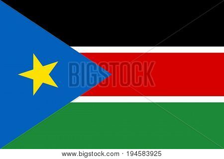 South Sudan flag. National current flag, government and geography emblem. Flat style vector illustration