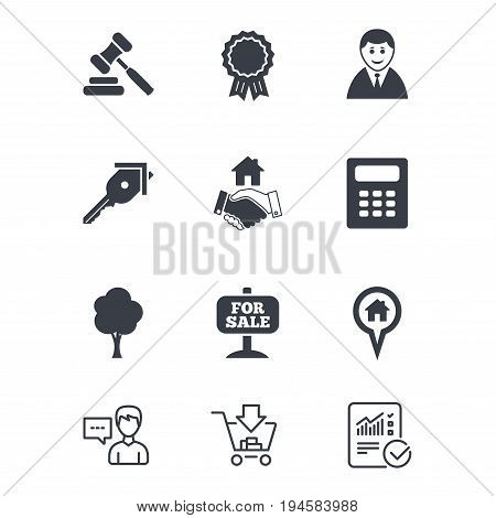 Real estate, auction icons. Handshake, for sale and calculator signs. Key, tree and award medal symbols. Customer service, Shopping cart and Report line signs. Online shopping and Statistics. Vector