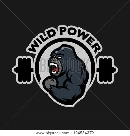 Angry gorilla. Sports gym logo on a dark background.