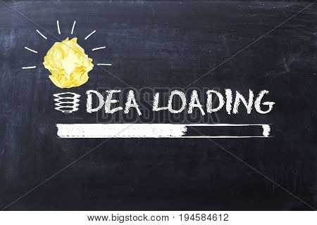 Idea loading with loading bar and lighting bulb on chalkboard