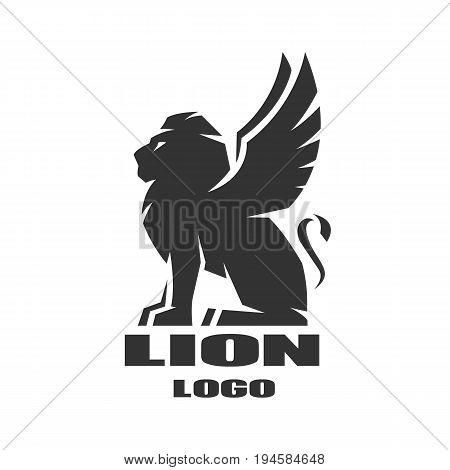 Winged lion, monochrome logo, symbol Vector illustration