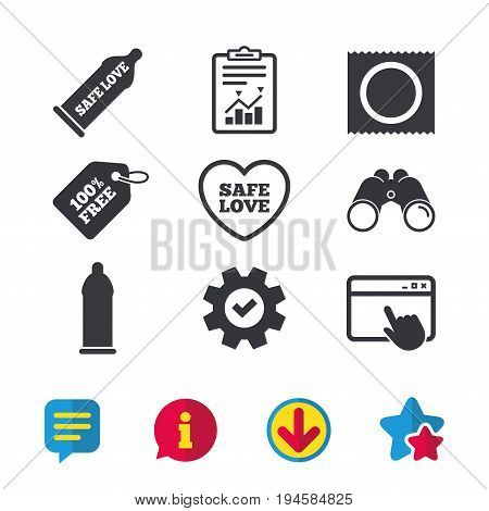Safe sex love icons. Condom in package symbol. Fertilization or insemination. Heart sign. Browser window, Report and Service signs. Binoculars, Information and Download icons. Stars and Chat. Vector