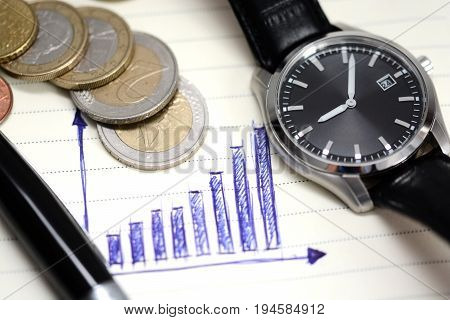 Ascending Bar Graph On Notebook With Coins And Office Tools