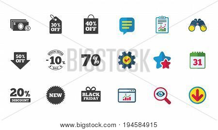 Sale discounts icon. Shopping, black friday and cash money signs. 10, 20, 50 and 70 percent off. Special offer symbols. Calendar, Report and Download signs. Stars, Service and Search icons. Vector