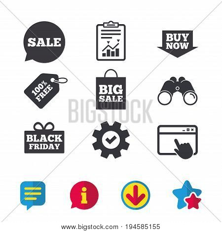 Sale speech bubble icons. Buy now arrow symbols. Black friday gift box signs. Big sale shopping bag. Browser window, Report and Service signs. Binoculars, Information and Download icons. Vector