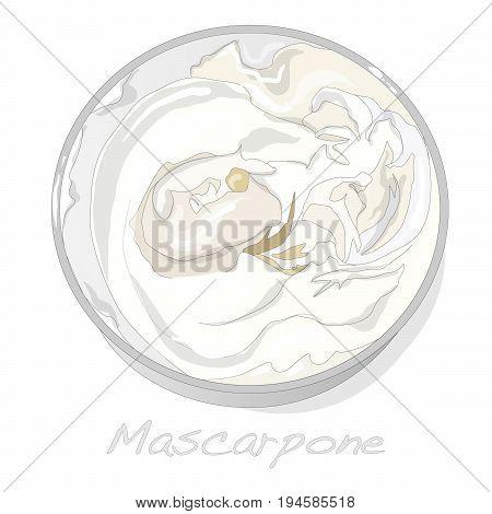 Mascarpone cheese isolated monochrome set on white.