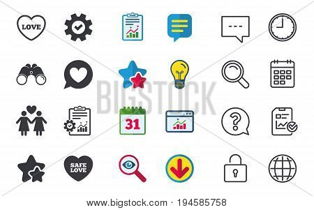 Lesbians couple sign. Speech bubble with heart icon. Female love female. Heart symbol. Chat, Report and Calendar signs. Stars, Statistics and Download icons. Question, Clock and Globe. Vector