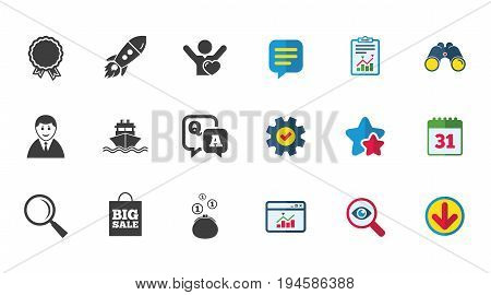 Online shopping, e-commerce and business icons. Startup, award and customers like signs. Cash money, shipment and sale symbols. Calendar, Report and Download signs. Stars, Service and Search icons