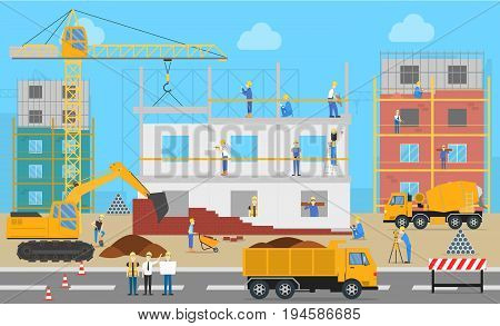 Construction place outdoors. Builders work on construction site with building equipment as excavator and digger.