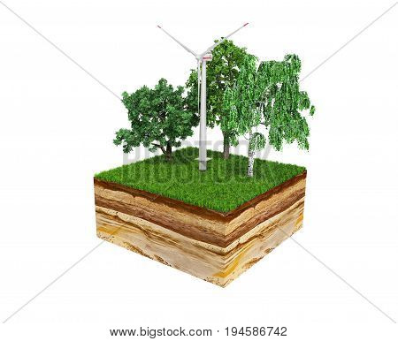 Concept Of Alternative Energy 3D Illustration Of Cross Section Of Ground With Grass On White No Shad