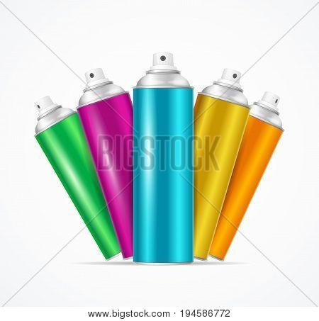 Realistic Aluminium Colorful Spray Can Set for Urban Street Wall Graffiti or Cosmetic Aerosol Product. Vector illustration
