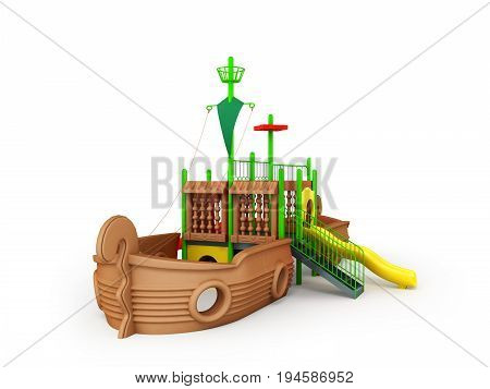 Playground For Children Ship Brown Yellow Green 3D Render On White Background