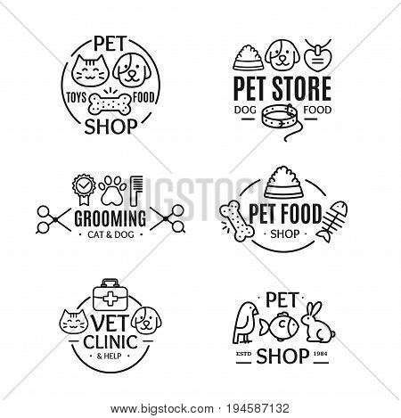 Pet Shop Badges or Labels Line Art Set for Store, Grooming, Food and Clinic Service. Vector illustration