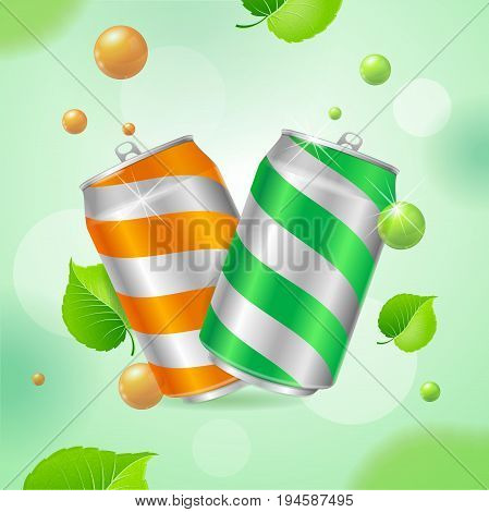 Realistic Steel Can Concept Soft Drink with Sphere or Bubble and Fly Green Leaves Background. Vector illustration
