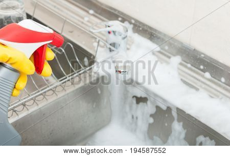 Woman Washing The Sink With Disinfecting Spray