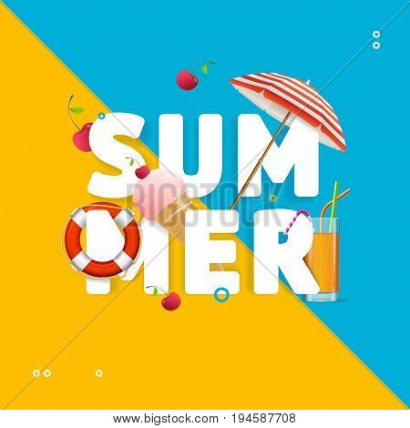 Summer Concept Card Travel Holiday on Beach with Beach Umbrella, Cocktail Glass and Life Buoy. Vector illustration