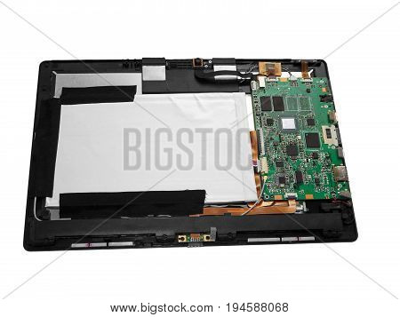 Disassembled tablet computer. Isolated on white background.