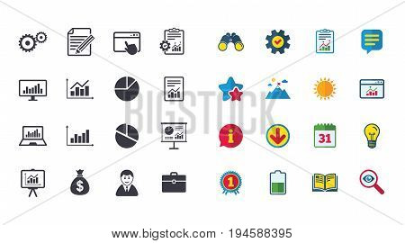 Set of Statistics, Accounting and Report icons. Charts, Presentation and Pie-chart signs. Analysis, Money bag and Business case symbols. Calendar, Report and Browser window signs. Vector