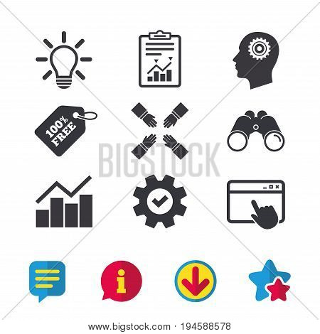 Lamp idea and head with gear icons. Graph chart diagram sign. Teamwork symbol. Browser window, Report and Service signs. Binoculars, Information and Download icons. Stars and Chat. Vector