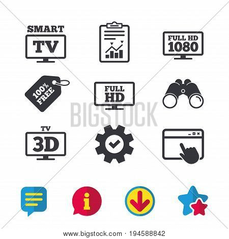 Smart TV mode icon. Widescreen symbol. Full hd 1080p resolution. 3D Television sign. Browser window, Report and Service signs. Binoculars, Information and Download icons. Stars and Chat. Vector