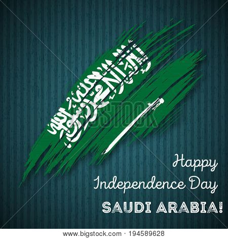 Saudi Arabia Independence Day Patriotic Design. Expressive Brush Stroke In National Flag Colors On D