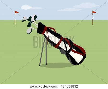 Golf bag on the field. Golf equipment for professional players.