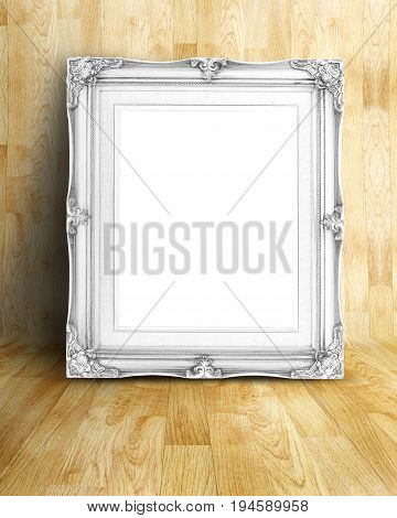 Blank Vintage White Victorian Style Picture Frame On Parquet Room,mock Up Template For Adding Your C