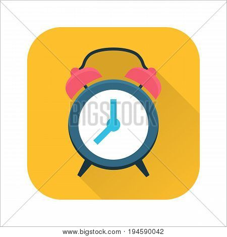 Clock flat icon. Classic alarm clock. Time, morning, hour or minute symbol. Web and mobile design element. Flat internet icon with long shadow in cartoon style. Vector colored illustration.