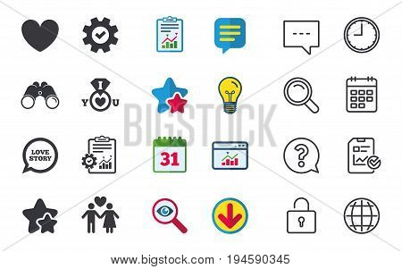 Valentine day love icons. I love you ring symbol. Couple lovers sign. Love story speech bubble. Chat, Report and Calendar signs. Stars, Statistics and Download icons. Question, Clock and Globe. Vector