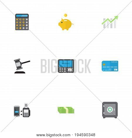 Flat Icons Remote Paying, Cash Stack, Payment And Other Vector Elements. Set Of Finance Flat Icons Symbols Also Includes Safe, Machine, Online Objects.