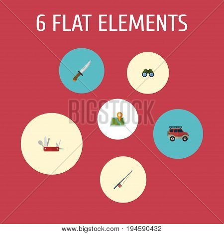 Flat Icons Suv, Location, Hunting Cutter And Other Vector Elements. Set Of Encampment Flat Icons Symbols Also Includes Knife, Zoom, Location Objects.
