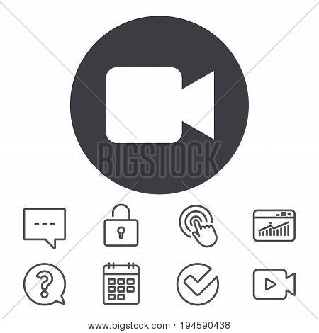 Video camera sign icon. Video content button. Calendar, Locker and Speech bubble line signs. Video camera, Statistics and Question icons. Vector
