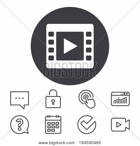 Video sign icon. Video frame symbol. Calendar, Locker and Speech bubble line signs. Video camera, Statistics and Question icons. Vector