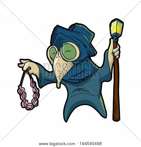 Medieval cartoon plague doctor holding a bunch of garlic in his hand