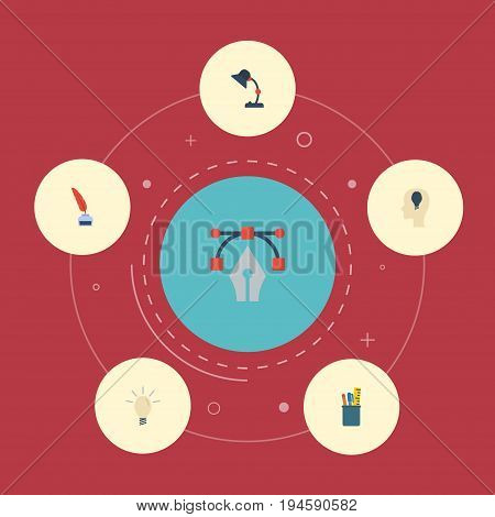 Flat Icons Case, Pencil, Concept And Other Vector Elements. Set Of Constructive Flat Icons Symbols Also Includes Drawing, Inkwell, Notion Objects.