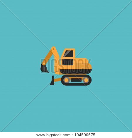 Flat Icon Crawler Excavator Element. Vector Illustration Of Flat Icon Tractor Isolated On Clean Background. Can Be Used As Tractor, Crawler And Excavator Symbols.