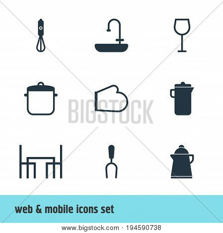 Vector Illustration Of 9 Kitchenware Icons. Editable Pack Of Washstand, Oven Mitts, Barbecue Tool Elements.