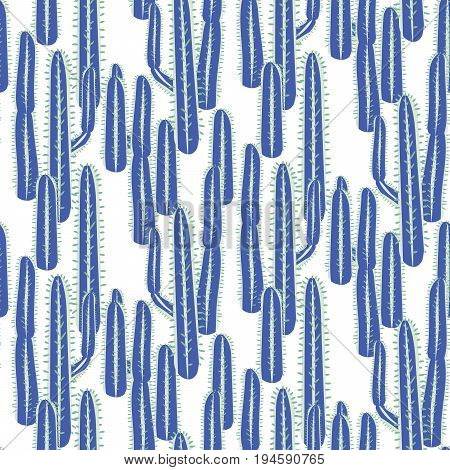 Cactus plant vector seamless pattern. Abstract desert nature fabric print. Dense long stem blue cacti on white for wallpaper and textile apparel.