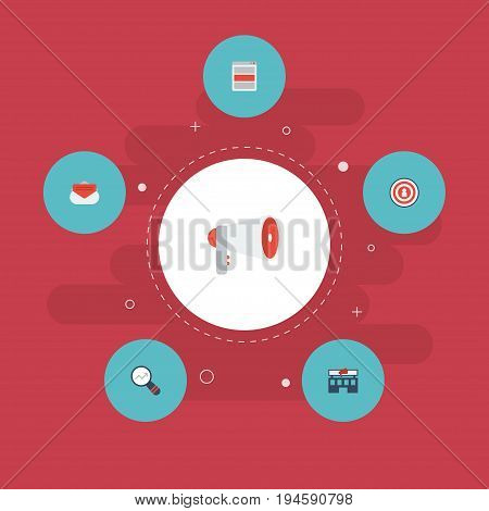 Flat Icons Market, Building, Audience And Other Vector Elements. Set Of Advertising Flat Icons Symbols Also Includes Promotion, Media, Megaphone Objects.