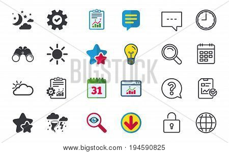 Weather icons. Moon and stars night. Cloud and sun signs. Storm or thunderstorm with lightning symbol. Chat, Report and Calendar signs. Stars, Statistics and Download icons. Question, Clock and Globe