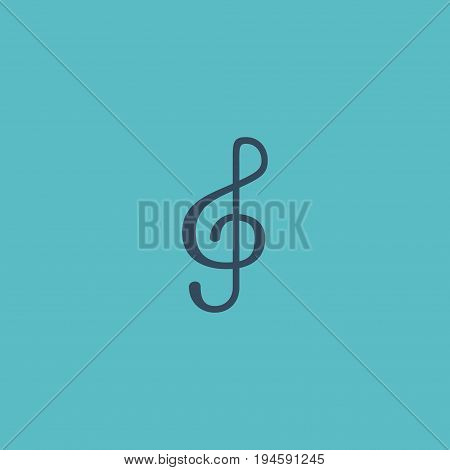 Flat Icon Treble Clef Element. Vector Illustration Of Flat Icon Quaver Isolated On Clean Background. Can Be Used As Clef, Note And Quaver Symbols.