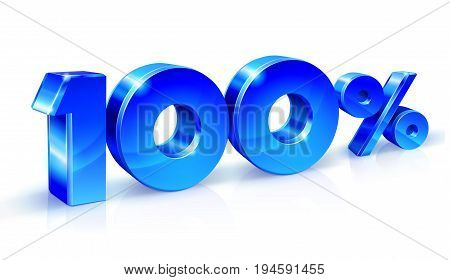 Glossy blue 90 Ninety percent off, sale. Isolated on white background, 3D object. Vector illustration.