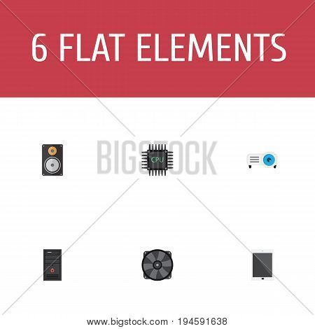 Flat Icons Cooler, Presentation, Amplifier And Other Vector Elements. Set Of PC Flat Icons Symbols Also Includes Phone, Palmtop, Processor Objects.