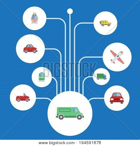 Flat Icons Carriage, Aircraft, Transport And Other Vector Elements. Set Of Vehicle Flat Icons Symbols Also Includes Lorry, Streetcar, Tram Objects.