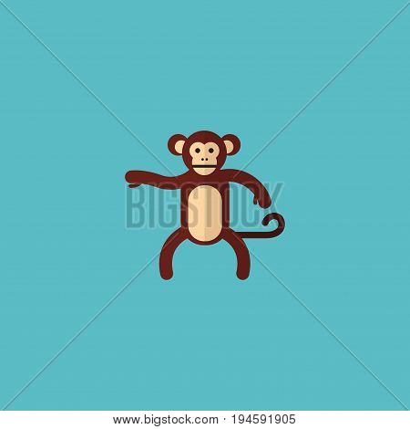 Flat Icon Monkey Element. Vector Illustration Of Flat Icon Chimpanzee Isolated On Clean Background. Can Be Used As Chimpanzee, Monkey And Gorilla Symbols.